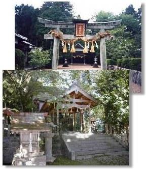 小幡神社の鳥居(上)と神域(下)